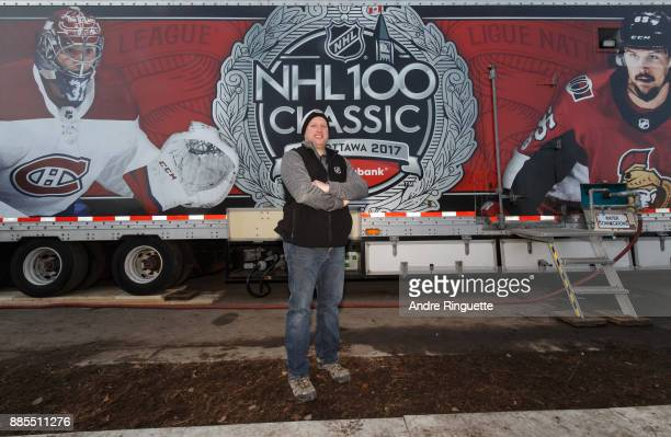 Derek King NHL Senior Manager of Facility Operations poses for a photo at the Ice Plant truck during rink buildout ahead of the Scotiabank NHL100...