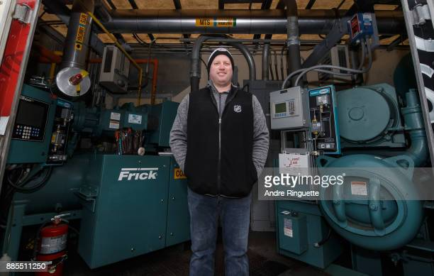 Derek King NHL Senior Manager of Facility Operations poses for a photo in the Ice Plant truck during rink buildout ahead of the Scotiabank NHL100...