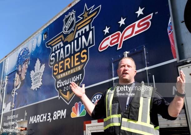 Derek King senior manager of facilities operations and hockey operations for the NHL speaks outside the NHL Ice Plant Truck after its arrival on...