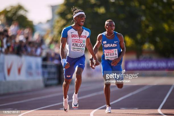 Derek Kinlock of Great Britain competes in the Men's 200m Final during European Athletics U20 Championships Day 3 at Kadriorg Stadium on July 17,...