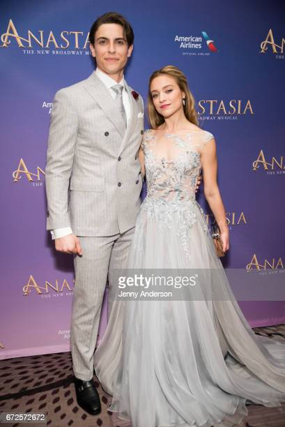 Derek Klena and Christy Altomare attend 'Anastasia' Broadway opening night at Marriott Marquis Times Square on April 24 2017 in New York City