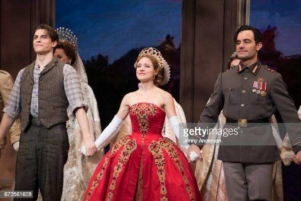 Derek Klena Christy Altomare Ramin Karimloo during 'Anastasia' opening night curtain call at The Broadhurst Theatre on April 24 2017 in New York City
