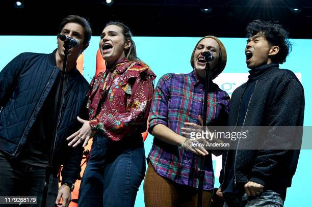 Derek Klena Kathryn Gallagher Lauren Patten and Kei Tsuruharatani of the cast of Jagged Little Pill perform onstage during the 5th Annual Elsie Fest...