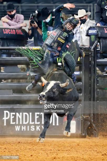 Derek Kolbaba rides bull I'm Legit Too during the PBR World Finals, on November 15th at the AT&T Stadium, Arlington, TX.