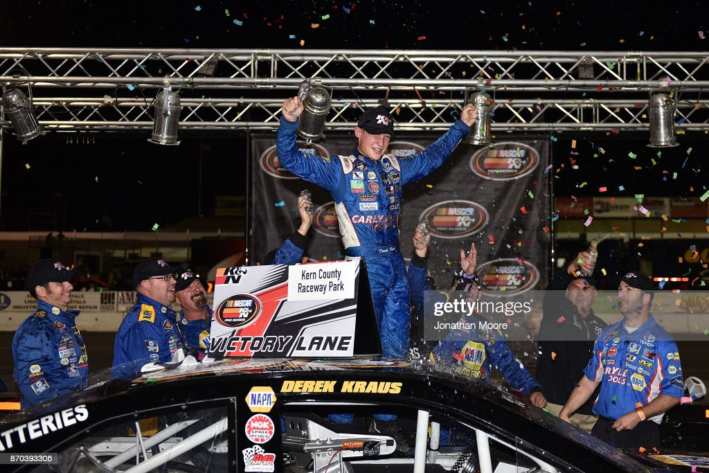 Derek Kraus, driver of the #19 Carlyle Tools Toyota, celebrates after winning the NASCAR K&N Pro Series West Coast Stock Car Hall of Fame Championship 150, presented by NAPA Auto Parts at Kern County Raceway Park on November 4, 2017 in Bakersfield, California.