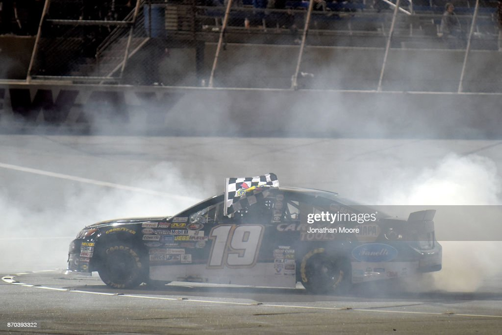 Derek Kraus, driver of the #19 Carlyle Tools Toyota, celebrates with a burnout after winning the NASCAR K&N Pro Series West Coast Stock Car Hall of Fame Championship 150, presented by NAPA Auto Parts at Kern County Raceway Park on November 4, 2017 in Bakersfield, California.