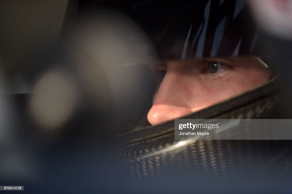Derek Kraus, driver of the #19 Carlyle Tools Toyota, sits in his car during qualifying for the NASCAR K&N Pro Series West Coast Stock Car Hall of Fame Championship 150, presented by NAPA Auto Parts at Kern County Raceway Park on November 4, 2017 in Bakersfield, California.