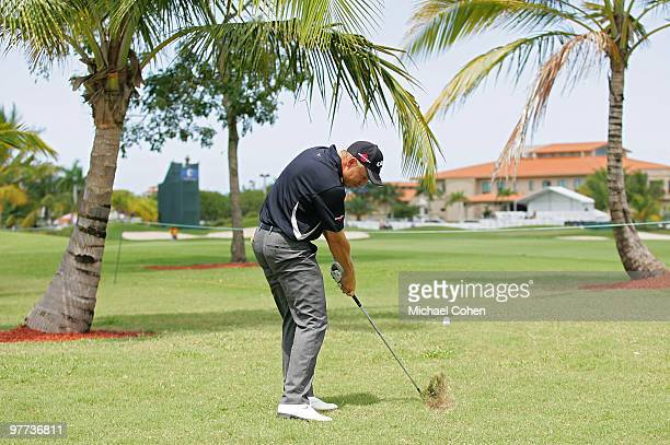 Derek Lamely hits his second shot to the ninth green during the final round of the Puerto Rico Open presented by Banco Popular at Trump International...