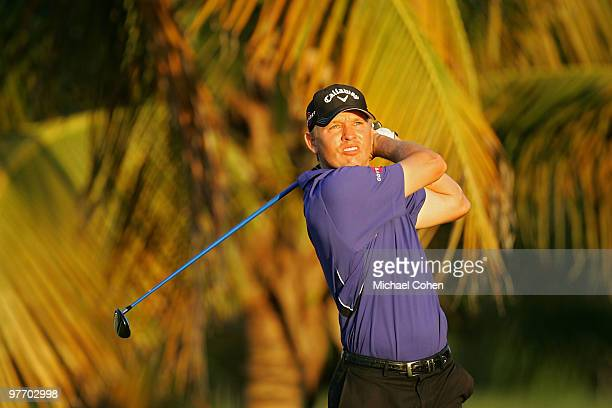Derek Lamely hits his shot on the third tee during the third round of the Puerto Rico Open presented by Banco Popular at Trump International Golf...