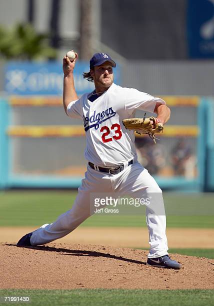 Derek Lowe of the Los Angeles Dodgers pitches during the game against the San Diego Padres at Dodger Stadium during the game on September 17 2006 in...