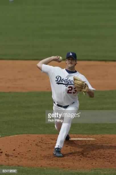 Derek Lowe of the Los Angeles Dodgers pitches during the Spring Training game against the Florida Marlins at Holman Stadium on March 8,2005 in Vero...