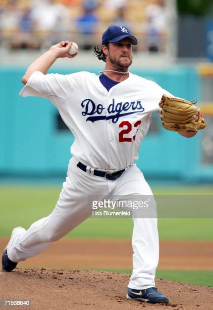 Derek Lowe of the Los Angeles Dodgers pitches in the 1st inning against the Washington Nationals on July 29 2006 at Dodger Stadium in Los Angeles...
