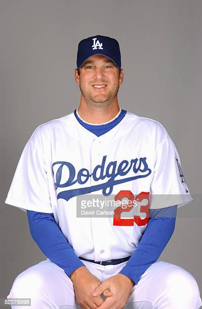 Derek Lowe of the Los Angeles Dodgers poses for a portrait during photo day at Holman Stadium on February 27, 2005 in Vero Beach, Florida.