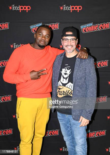 Derek Luke and James DeMonaco pose for a photo after USA's The Purge Premiere Screening and Panel the New York Comic Con at Jacob K. Javits...