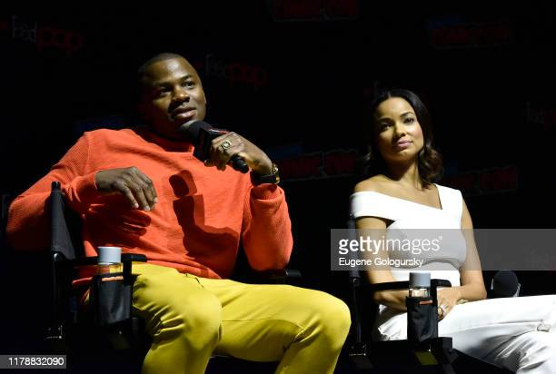 Derek Luke and Rochelle Aytes speak on stage during USA's The Purge Premiere Screening and Panel the New York Comic Con at Jacob K. Javits Convention...