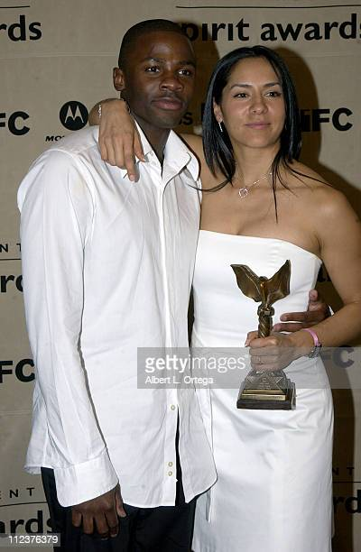 Derek Luke Best Male Lead 'Antwone Fisher' with his wife Sophia Luke