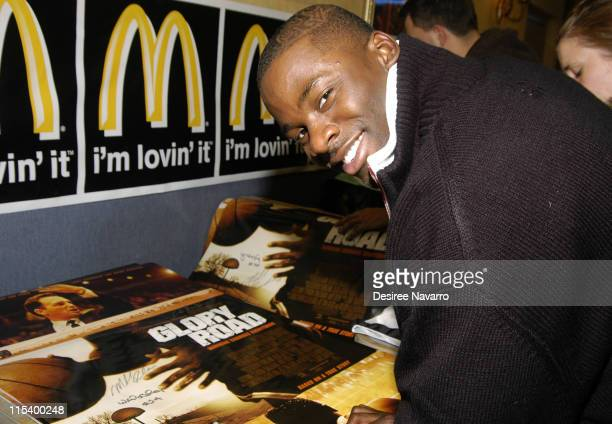 Derek Luke during The Cast of 'Glory Road' Participates in the NBA's 'Read To Achieve' Program to Celebrate Dr Martin Luther King at McDonalds in New...