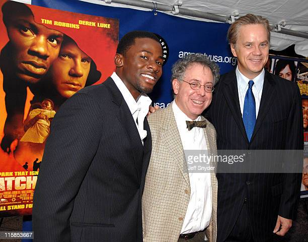 Derek Luke James Schamus and Tim Robbins during 2006 Amnesty International Film Festival Catch a Fire Premiere at National Geographic Society in...