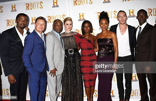 Derek Luke Lane Garrison LeVar Burton Anna Paquin Erica Tazel Anika Noni Rose Jonathan Rhys Meyers and Malachi Kirby attend Roots Night One Screening...