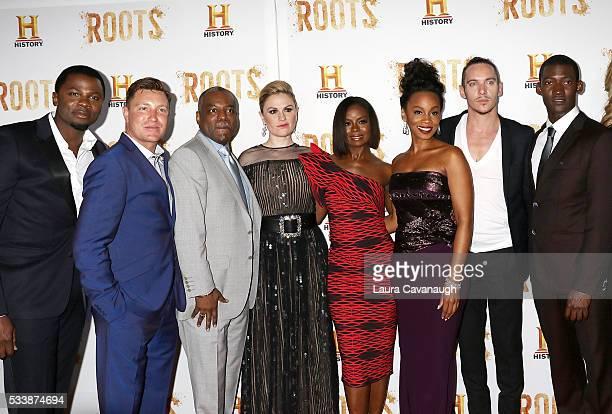 Derek Luke Lane Garrison LeVar Burton Anna Paquin Erica Tazel Anika Noni Rose Jonathan Rhys Meyers and Malachi Kirby attend 'Roots' Night One...