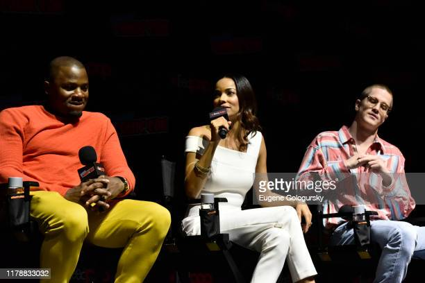 Derek Luke, Rochelle Aytes speaks on stage during USA's The Purge Premiere Screening and Panel the New York Comic Con at Jacob K. Javits Convention...