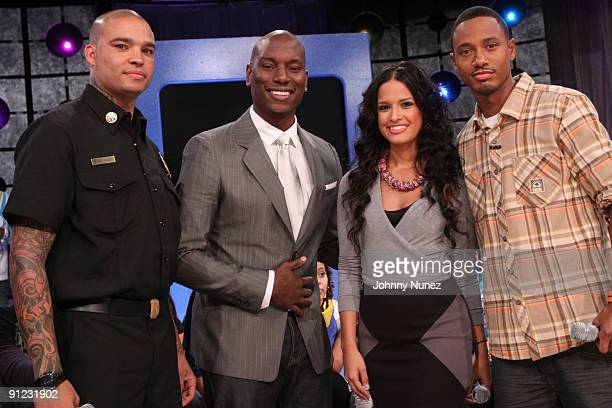 Derek Luke Tyrese Gibson Rocsi and Terrence J at the live taping of BET's '106 Park' at BET Studios on September 28 2009 in New York City