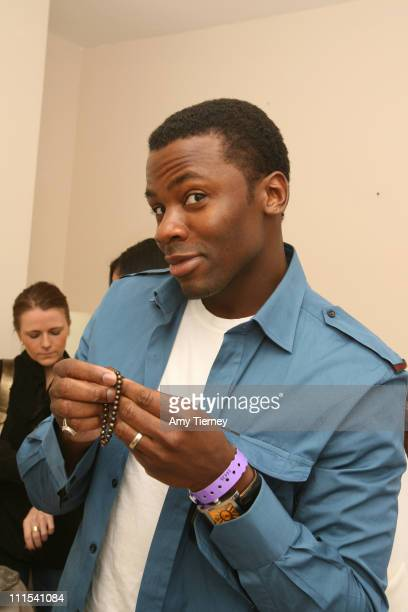 Derek Luke with a Vintage La Rose bracelet during Primary Action 2007 Golden Globe Suites Day 3 at Private Residence in Los Angeles California United...