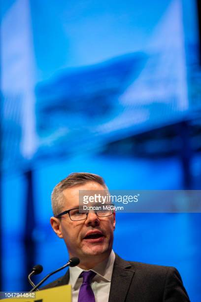 Derek Mackay MSP Cabinet Secretary for Finance Economy and Fair Work makes his keynote speech at the 84th annual SNP conference at the Scottish...