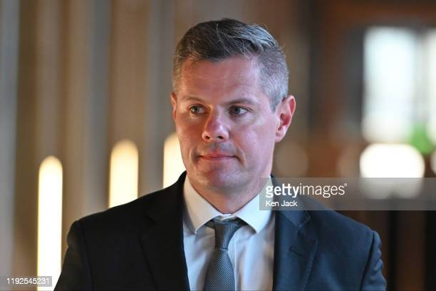 Derek Mackay Scottish Cabinet Secretary for Finance Economy and Fair Work on the way to Portfolio Questions in the Scottish Parliament on January 8...