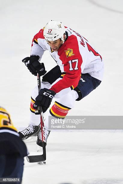 Derek MacKenzie of the Florida Panthers skates during a NHL preseason game against the Nashville Predators at Bridgestone Arena on September 27 2014...