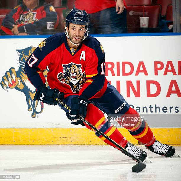 Derek MacKenzie of the Florida Panthers skates on the ice prior to the start of the game against the New York Islanders at the BBT Center on November...