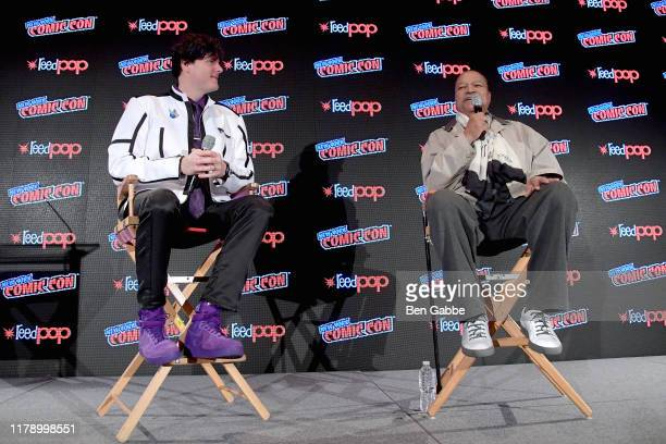 Derek Maki and Billy Dee Williams speak onstage during Hello What Have We Here Spotlight on Billy Dee Willaims at New York Comic Con 2019 Day 2 at...