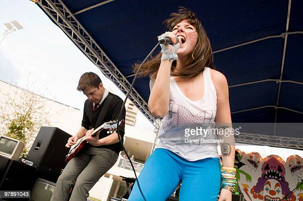 Derek Miller and Alexis Krauss of Sleigh Bells perform at Carniville during the third day of SXSW on March 19, 2010 in Austin, Texas.