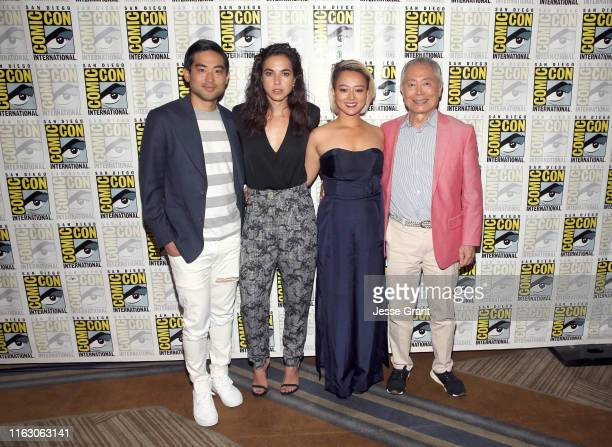 Derek Mio Cristina Rodlo Kiki Sukezane and George Takei attend The Terror Infamy Press Conference at Comic Con 2019 on July 19 2019 in San Diego...