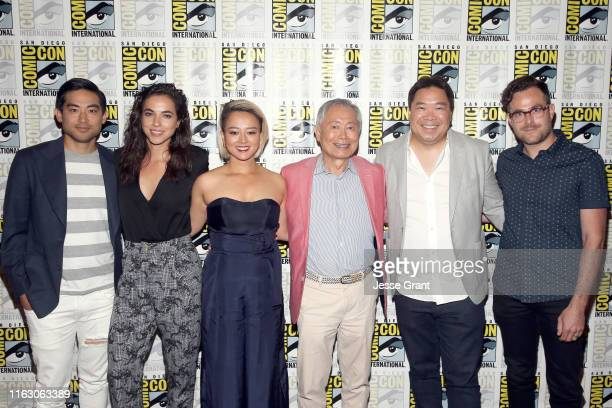 Derek Mio Cristina Rodlo Kiki Sukezane George Takei Alexander Woo and Max Borenstein attend The Terror Infamy Press Conference at Comic Con 2019 on...