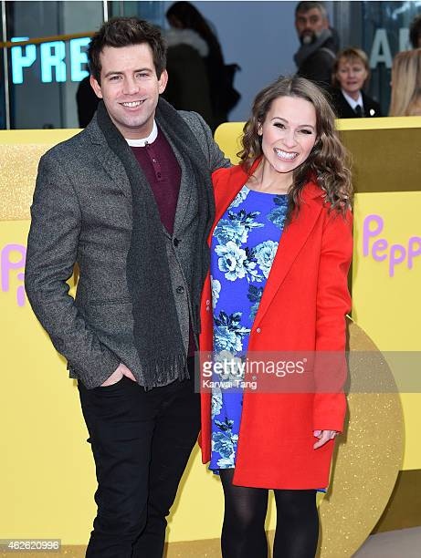 Derek Moran and Jen Pringle attend the UK premiere of Peppa Pig The Golden Boots at Odeon Leicester Square on February 1 2015 in London England