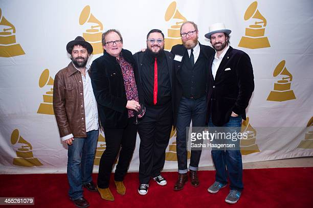 Derek Morris Freddy Steady Nakia Eric Jarvis and David Messier during the Texas Rocks On Holiday Bash at The Gibson Showroom on December 11 2013 in...