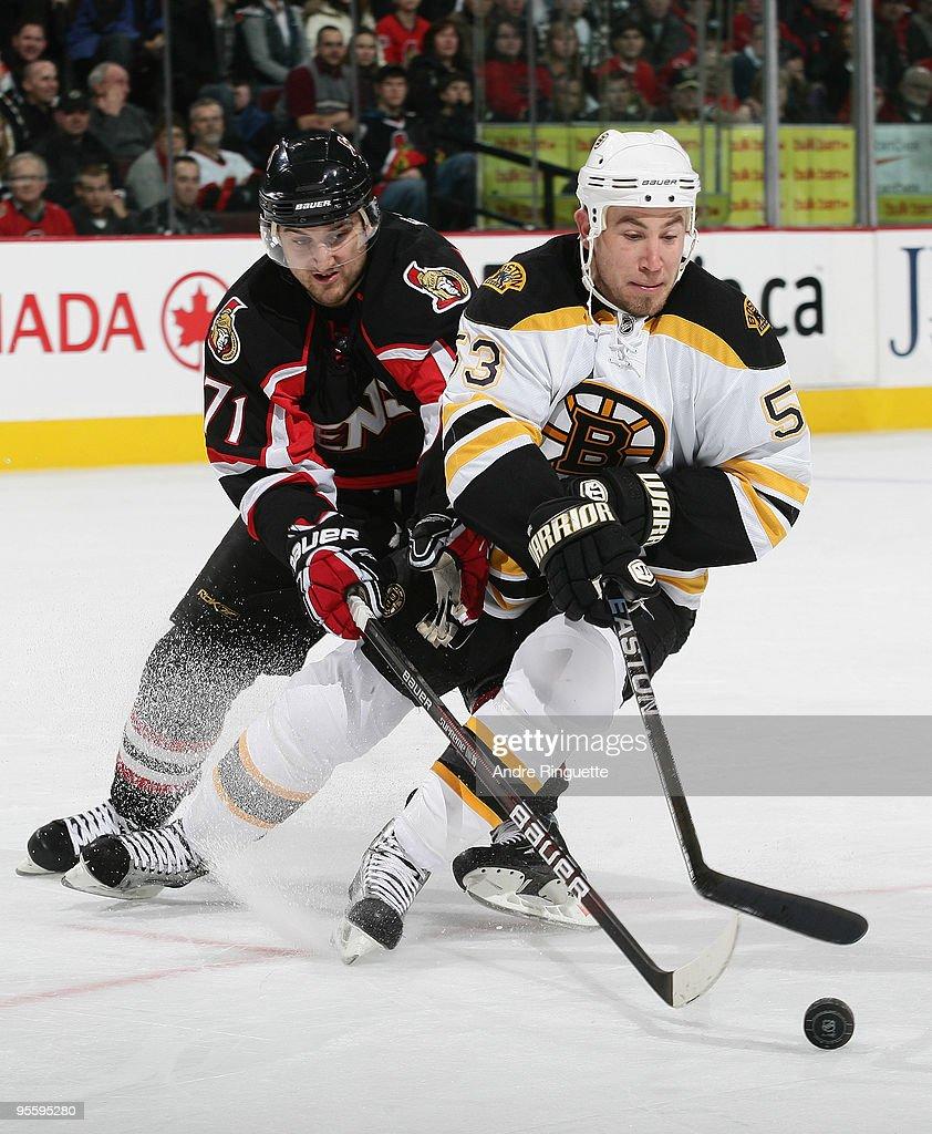 Derek Morris 53 Of The Boston Bruins Stickhandles Puck Against Nick Foligno 71