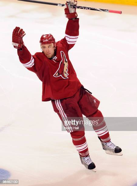 Derek Morris of the Phoenix Coyotes celebrates his gamewinning goal against the Detroit Red Wings in Game One of the Western Conference Quarterfinals...