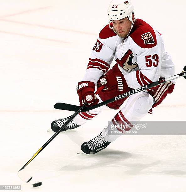 Derek Morris of the Phoenix Coyotes controls the puck during the game against the Anaheim Ducks on January 18 2012 at Honda Center in Anaheim...