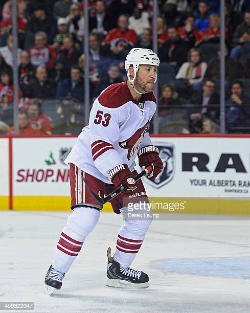 Derek Morris of the Phoenix Coyotes skates against the Calgary Flames during an NHL game at Scotiabank Saddledome on December 4 2013 in Calgary...