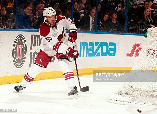 Derek Morris of the Phoenix Coyotes skates against the St Louis Blues during an NHL game on January 14 2014 at Scottrade Center in St Louis Missouri