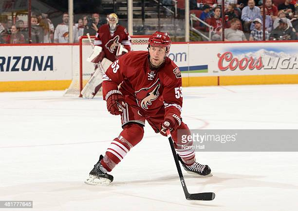 Derek Morris of the Phoenix Coyotes skates back into his own zone against the Florida Panthers at Jobing.com Arena on March 20, 2014 in Glendale,...
