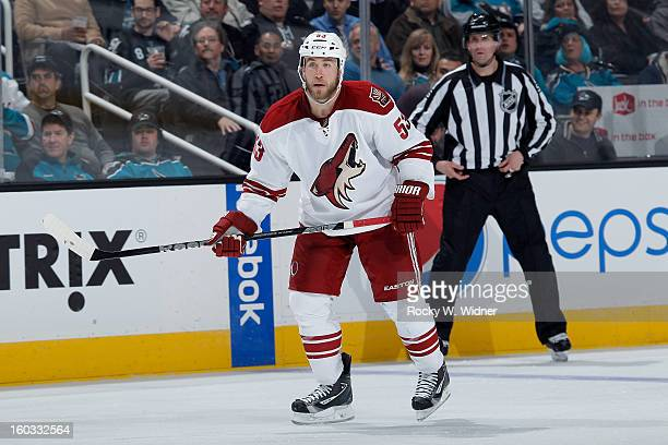 Derek Morris of the Phoenix Coyotes watches ahead during the game against the San Jose Sharks at the HP Pavilion on January 24 2013 in San Jose...