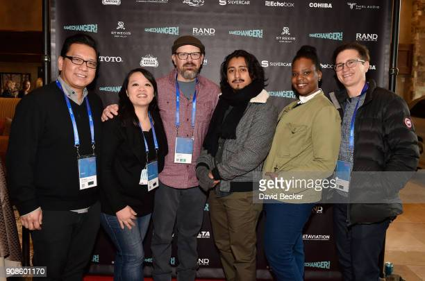 Derek Nguyen Mynette Louie Kelly Williams Tony Revolori Jacqueline Ingram and Jonathan Duffy attend the Gamechanger Films reception at the RAND...