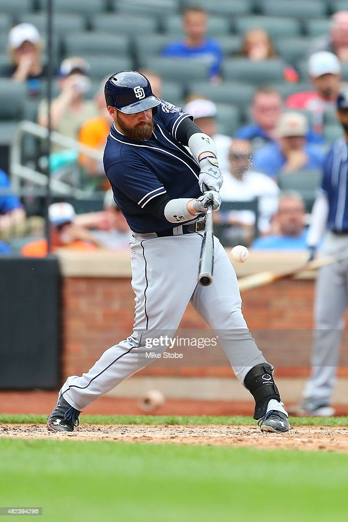 Derek Norris #3 of the San Diego Padres connects on a grand slam home run in the seventh inning against the New York Mets at Citi Field on July 30, 2015 in Flushing neighborhood of the Queens borough of New York City.