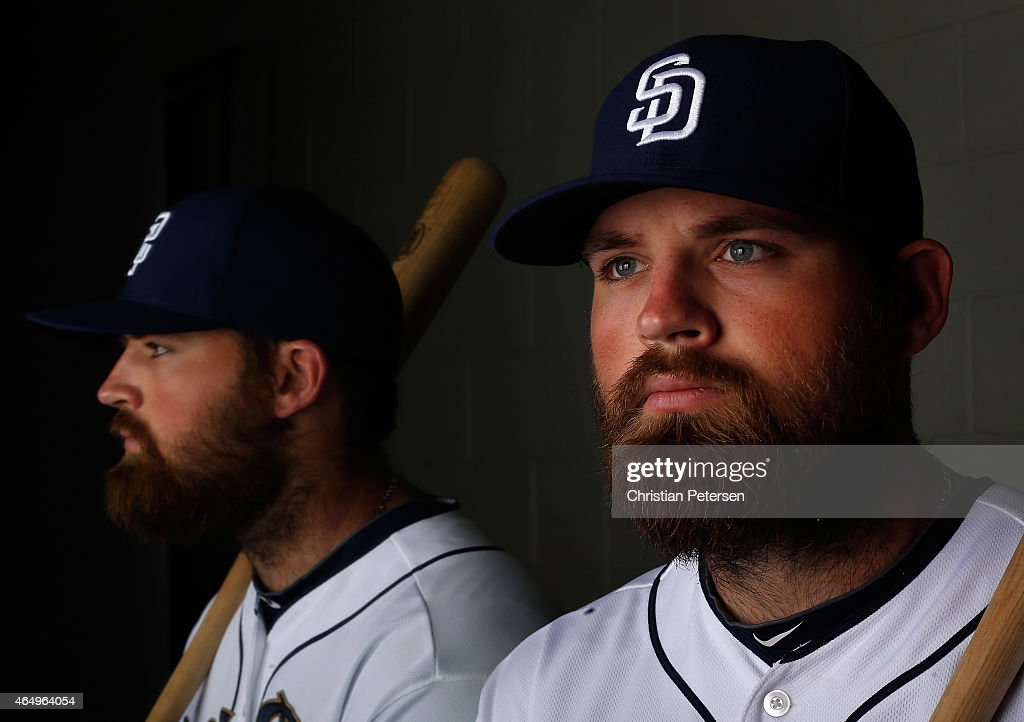 Derek Norris #3 of the San Diego Padres poses for a portrait during spring training photo day at Peoria Stadium on March 2, 2015 in Peoria, Arizona.