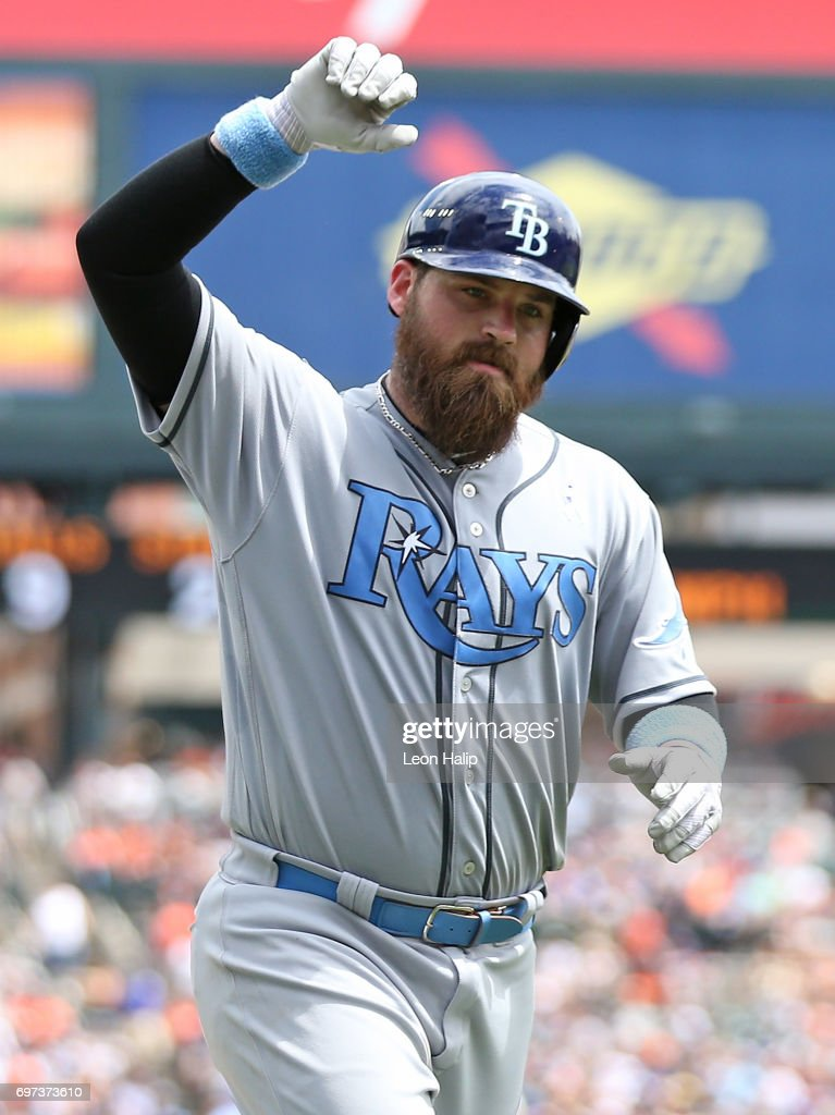 Derek Norris #33 of the Tampa Bay Rays celebrates his solo home run to left field during the third inning of the game against the Detroit Tigers on June 18, 2017 at Comerica Park in Detroit, Michigan.