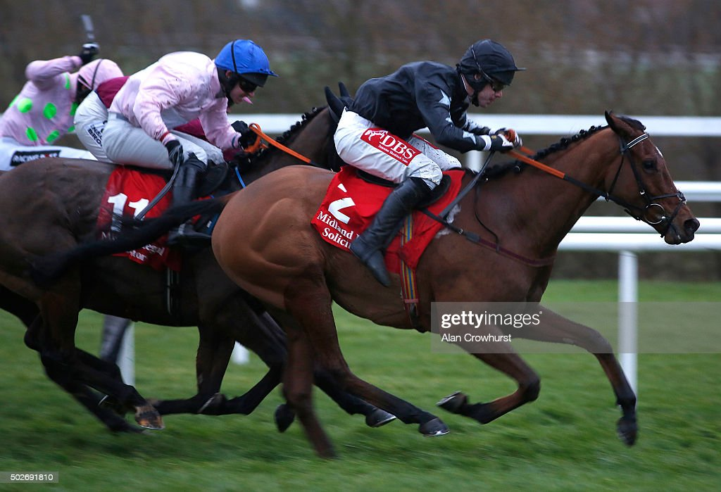 Derek O'Connor riding Gurteen (R) win The Midlnd Legal Solicitors Flat Race at Leopardstown racecourse on December 28, 2015 in Dublin, Ireland.