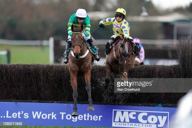 Derek O'Connor riding Ok Corral clear the last to win The McCoy Contractors 2019 Construction News Awards Finalist Hampton Novices' Chase at Warwick...